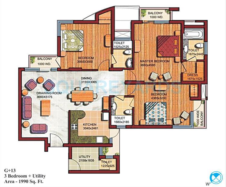 supertech czar suites apartment 3bhk 1990sqft 1