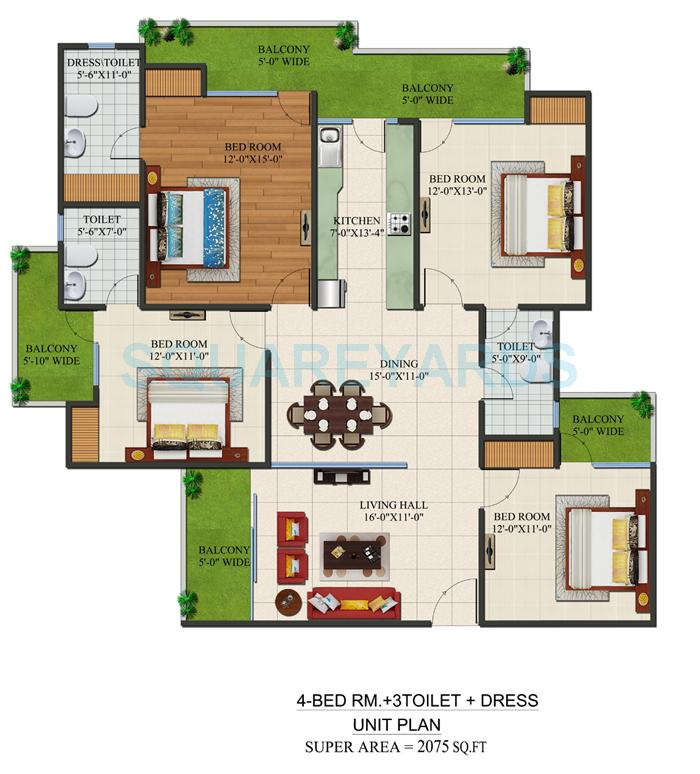 supertech czar suites apartment 4bhk 2075sqft 1