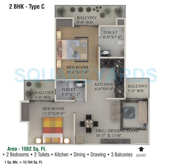 supertech ecociti apartment 2bhk 1082sqft 1