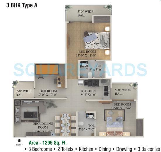 supertech ecociti apartment 3bhk 1295sqft 1