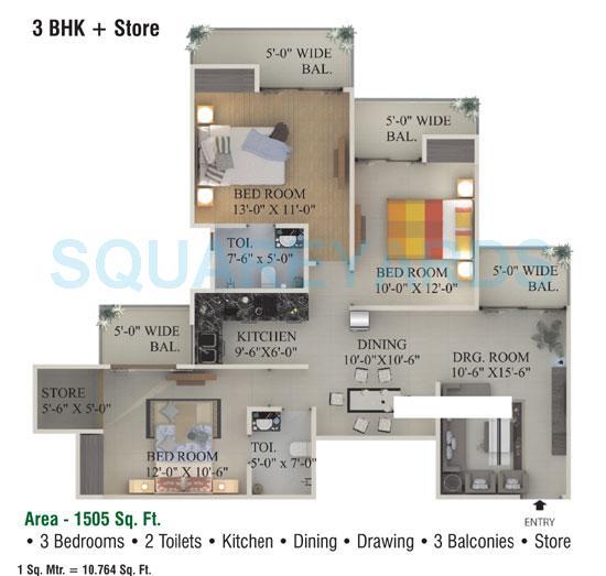supertech ecociti apartment 3bhk 1505sqft 1