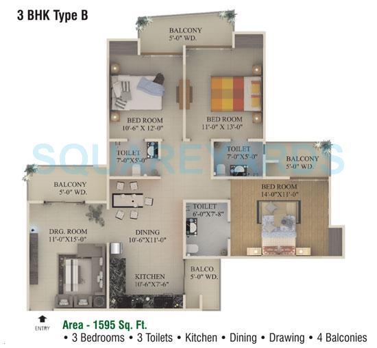 supertech ecociti apartment 3bhk 1595sqft 1