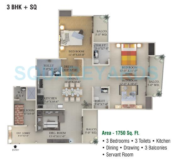 supertech ecociti apartment 3bhk sq 1750sqft 1
