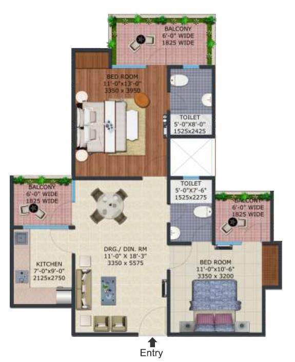 supertech ecovillage iii apartment 2bhk 1105sqft161