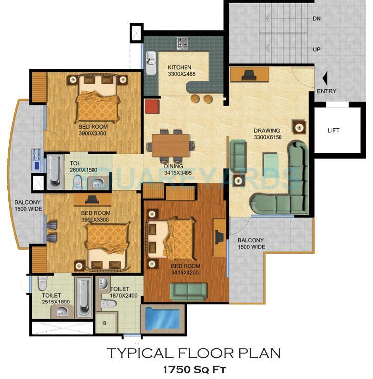 supertech emerald court apartment 3bhk 1750sqft 1