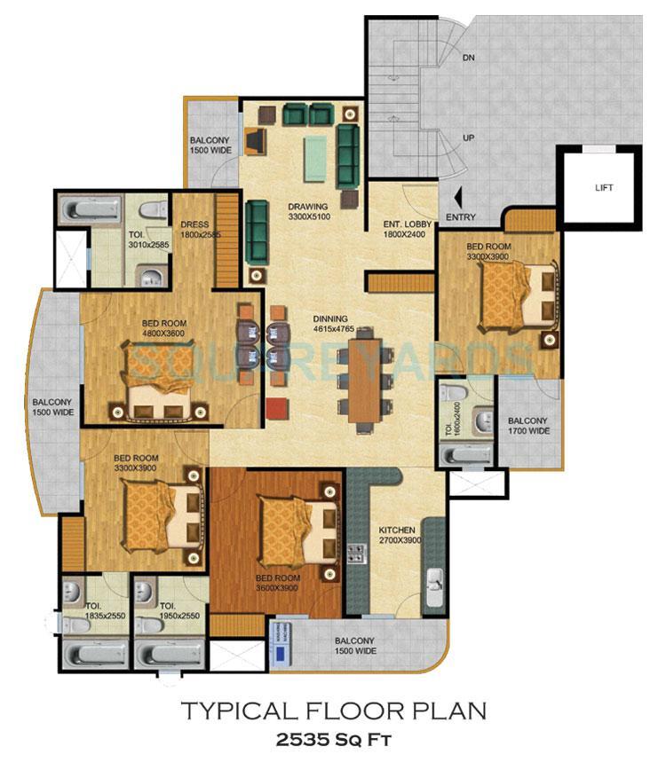 supertech emerald court apartment 4bhk 2535sqft 1