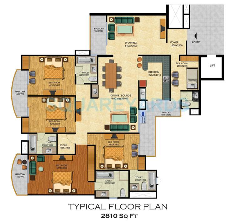 4 BHK 2810 Sq. Ft. ApartmentTypical Floor For Sale In