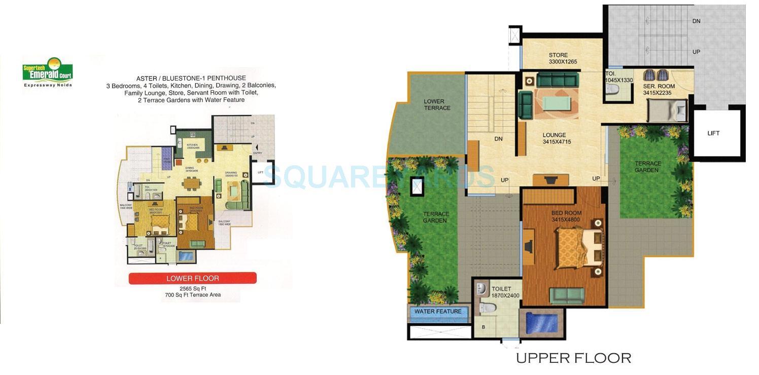 supertech emerald court penthouse 3bhk sq 2565sqft 1