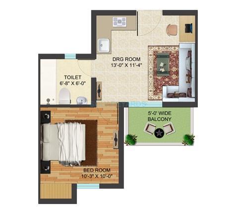 supertech golf village apartment 1bhk 590sqft 1