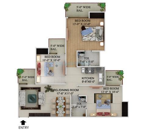 supertech grand circuit apartment 3bhk 1295sqft 1