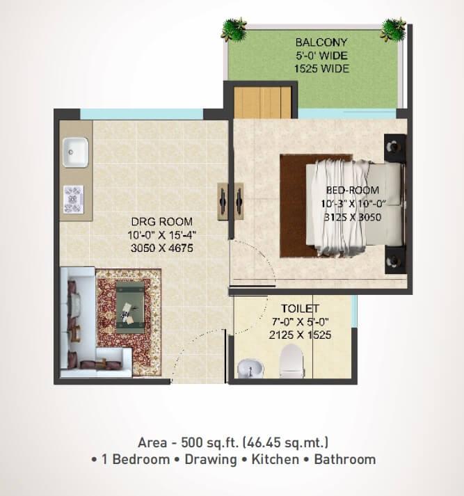 supertech shaan apartment 1bhk 500sqft 1