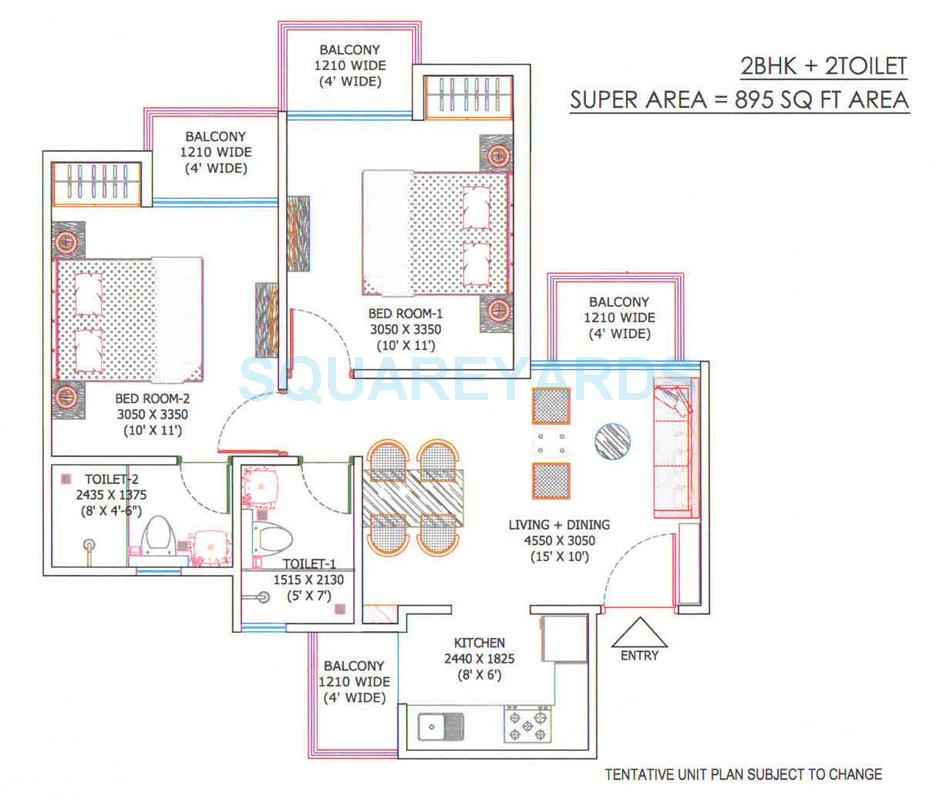 supertech sports republic apartment 2bhk 895sqft 1