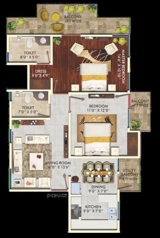 the hemisphere apartment 2bhk 1198sqft 1