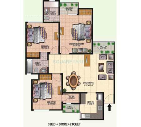 today ridge residency apartment 3bhk 1500sqft 1