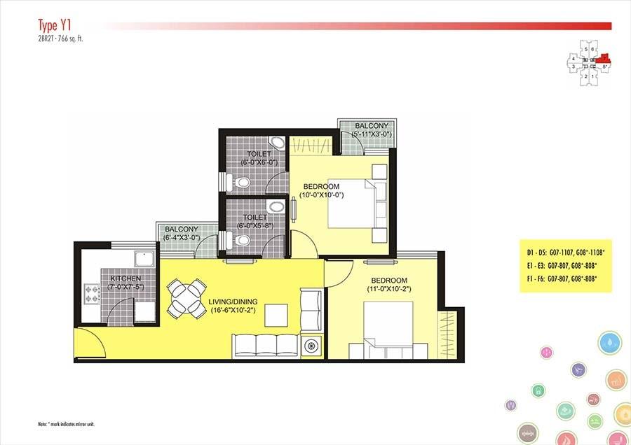 unitech unihomes phase i apartment 2 bhk 766sqft 20204607114634