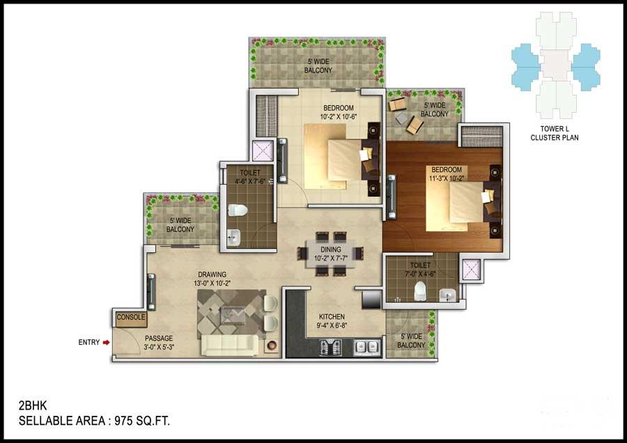 unnati fortune the aranya apartment 2bhk 975sqft 1