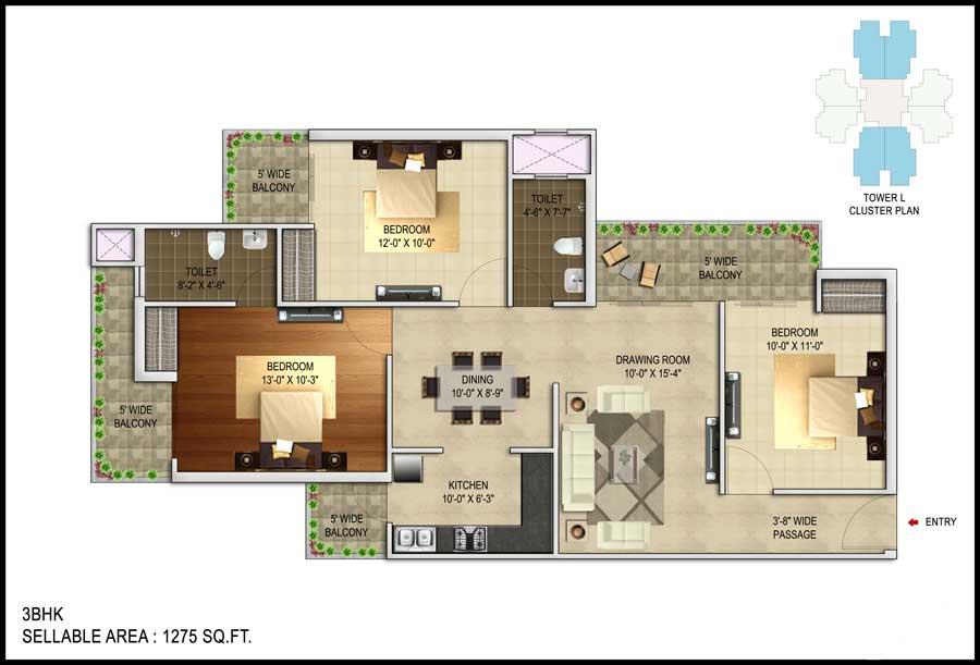 unnati fortune the aranya apartment 3bhk 1275sqft 1
