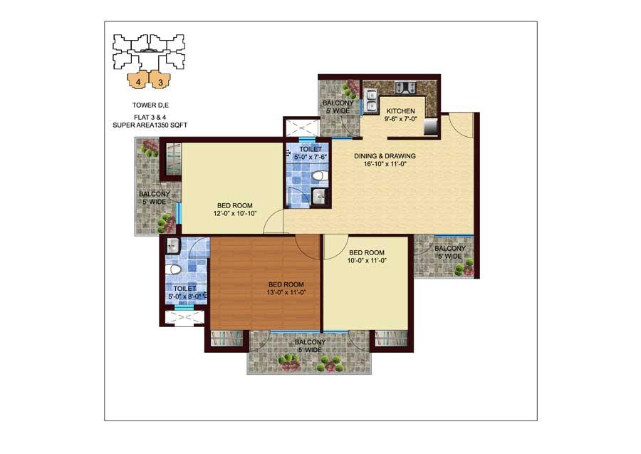 unnati fortune the aranya apartment 3bhk 1350sqft 1