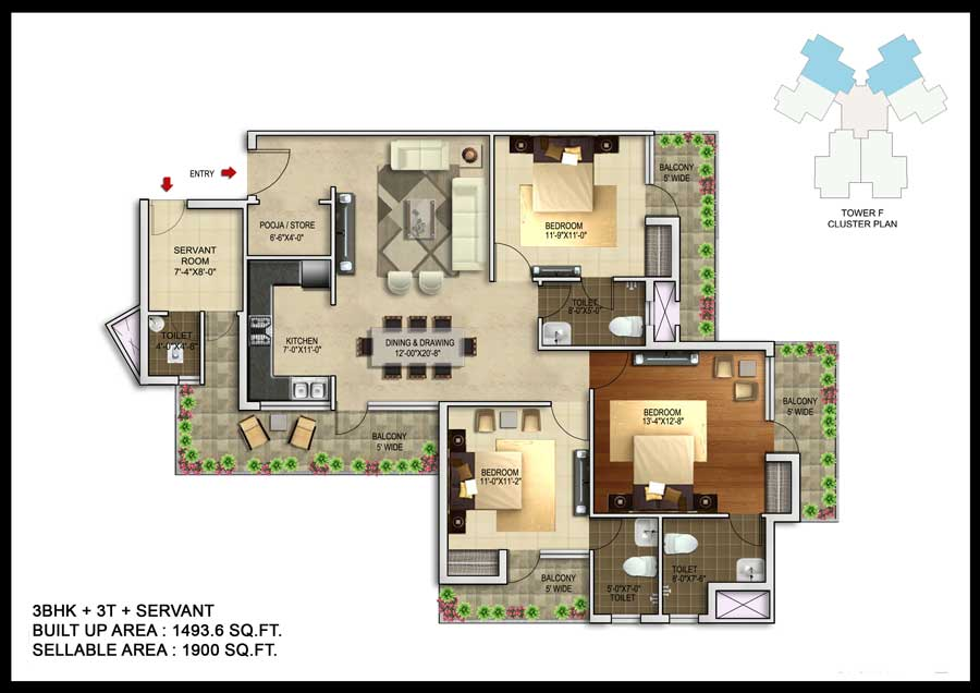 unnati fortune the aranya apartment 3bhk 1900sqft 1