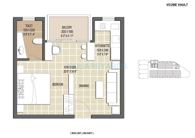 vcube vault apartment 1bhk 595sqft 1