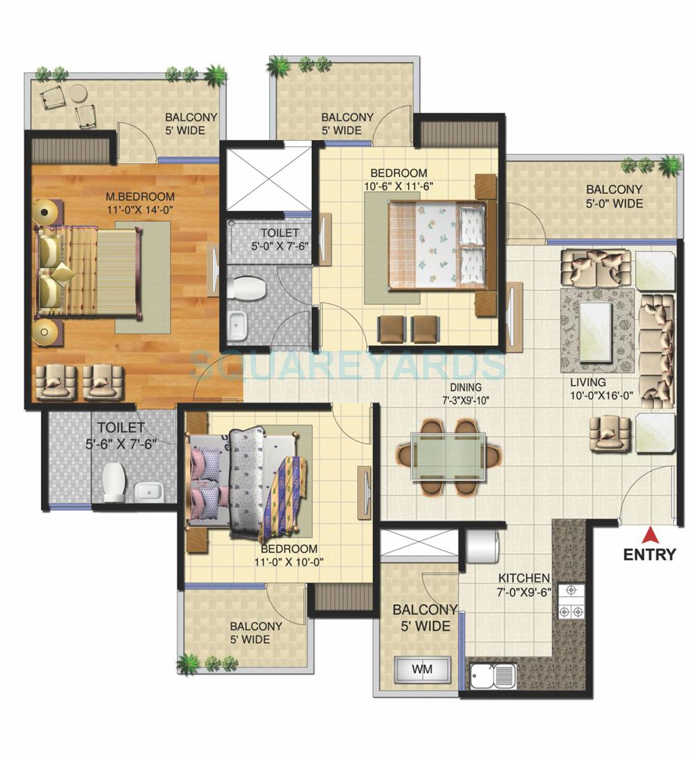 victory ace apartment 3bhk 1495sqft 1