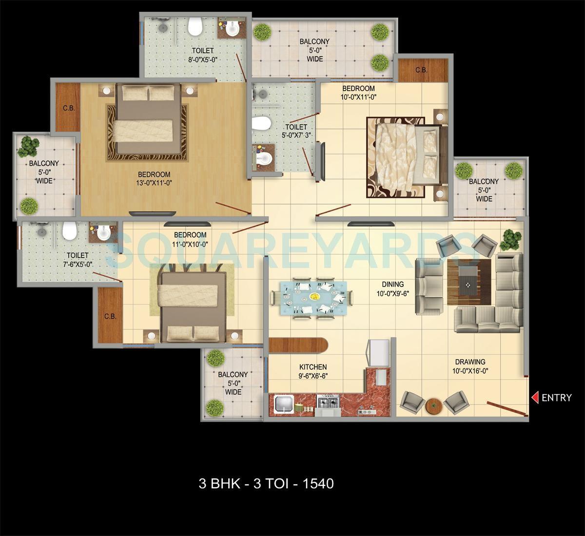 victoryone amara apartment 3bhk 1540sqft 51