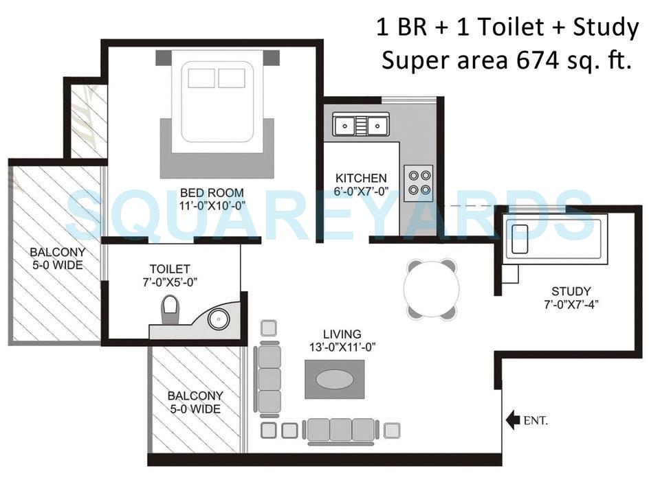 vivaan greens apartment 1bhk 674sqft 1