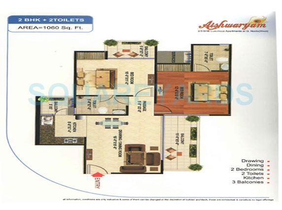 wall rock aishwaryam apartment 2bhk 1060sqft 1