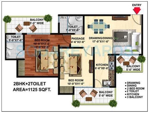 wall rock aishwaryam apartment 2bhk 1125sqft 1