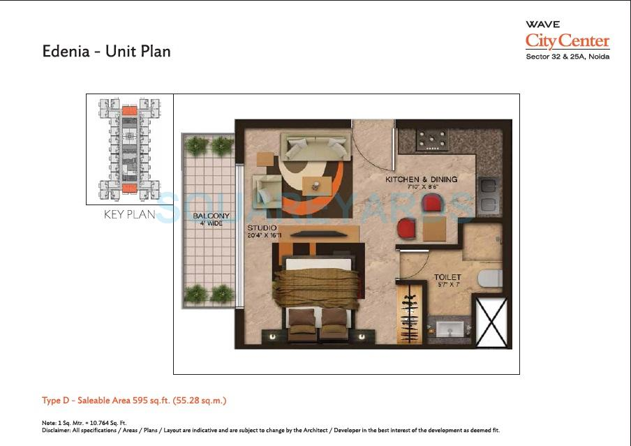 wave city center edenia apartment 1bhk 595sqft 1