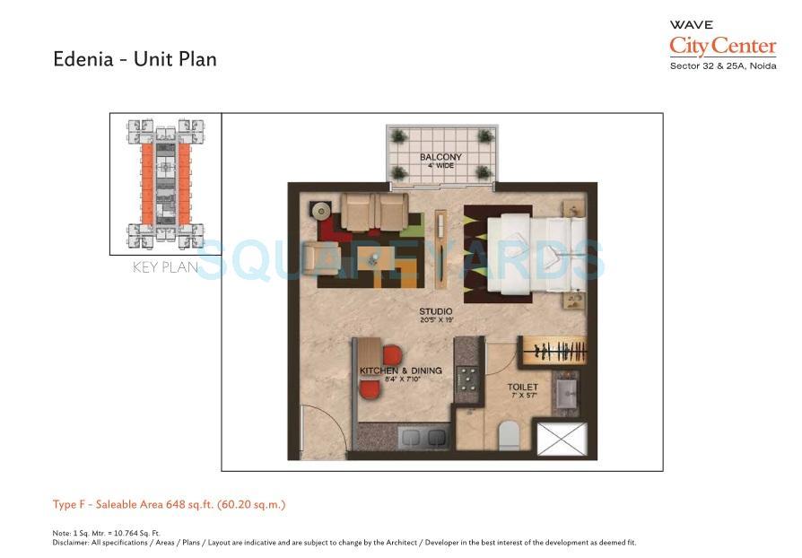 wave city center edenia apartment 1bhk 648sqft 1