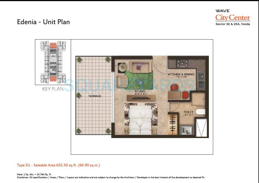 wave city center edenia apartment 1bhk 655sqft 1