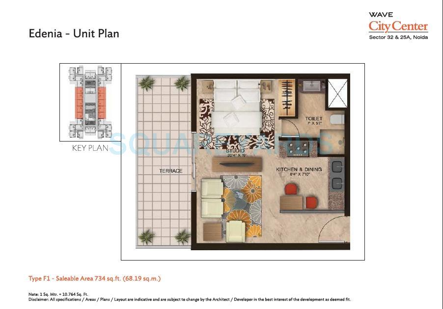 wave city center edenia apartment 1bhk 734sqft 1