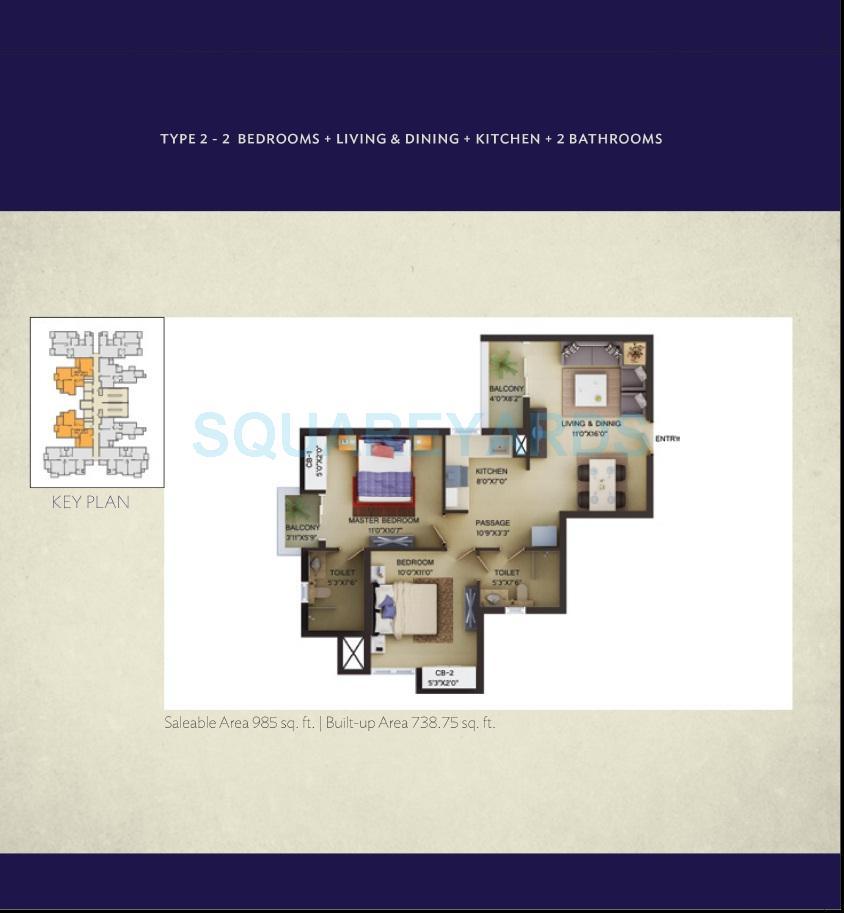 wave city center irenia apartment 2bhk 985sqft 1