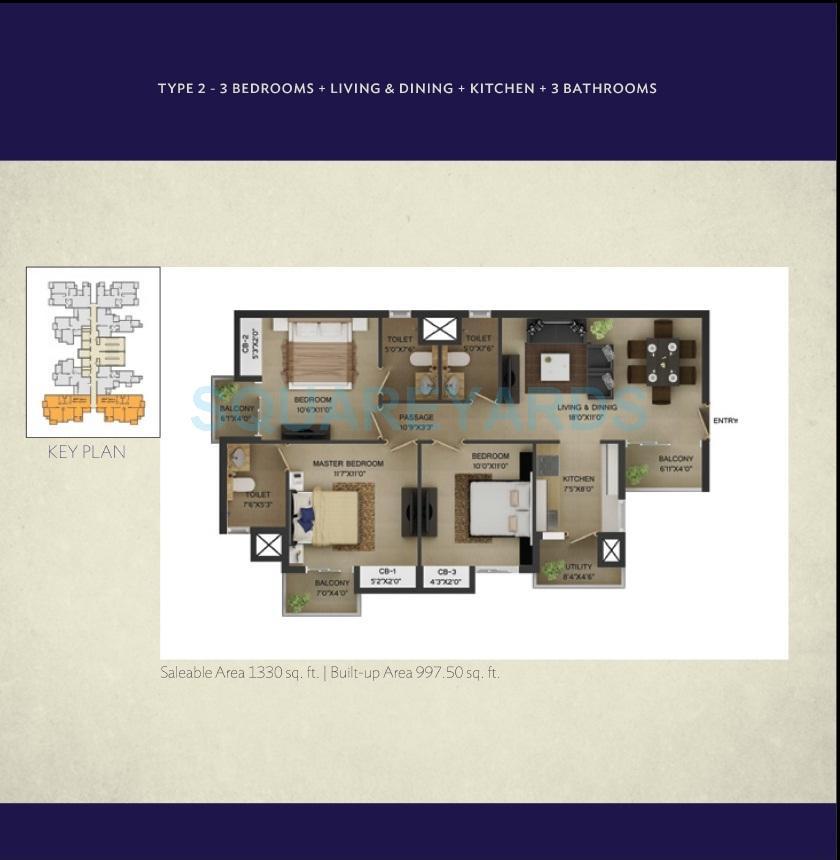 wave city center irenia apartment 3bhk 1330sqft 1