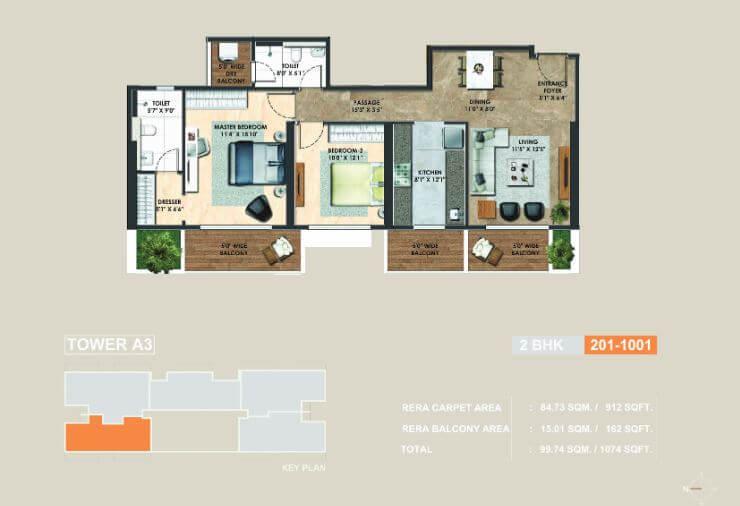 Image For 2 Bhk Floor Plans Of Adani Atelier Greens In Koregaon Park Pune