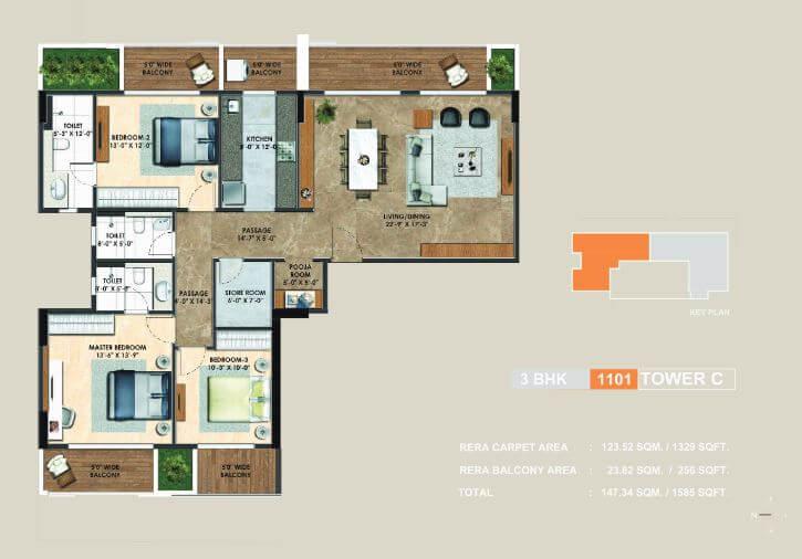 adani atelier greens apartment 3bhk 1329sqft 1