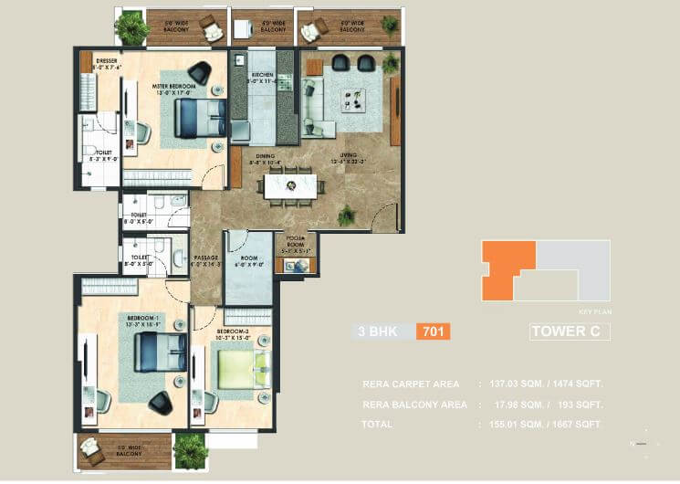 3 Bhk 1474 Sq Ft Apartment For Sale In Adani Atelier Greens At Rs 18633 Sq Ft Pune