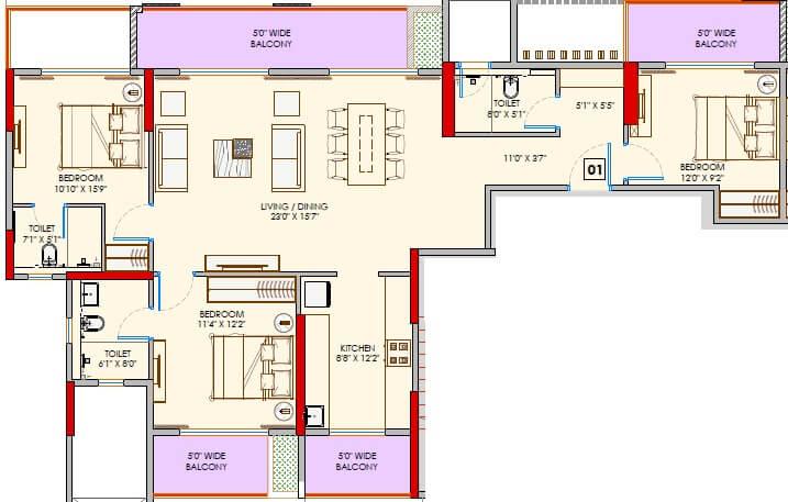 adani codename greens apartment 3bhk 1142sqft 1