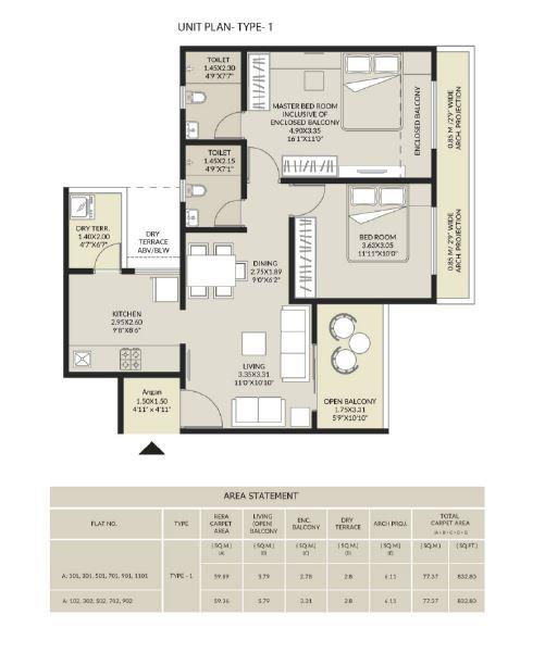 arvind elan apartment 2bhk 833sqft11