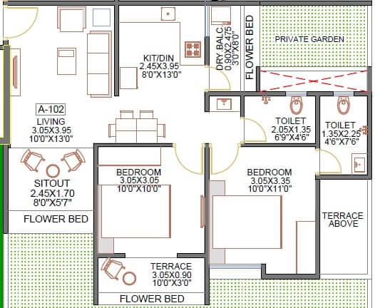 avior aagam apartment 2bhk 691sqft 1
