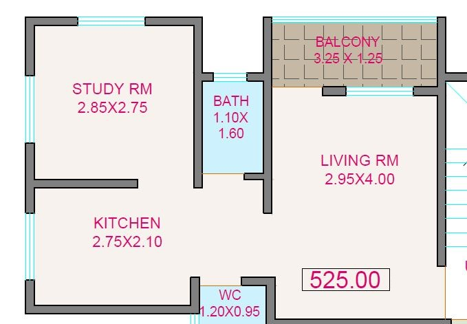 blueberry blue leaf apartment 1bhk 525sqft 1