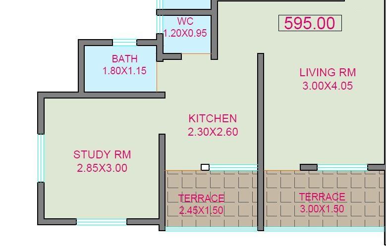 blueberry blue leaf apartment 1bhk 595sqft 1