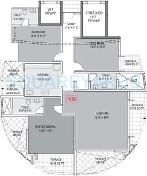 brahma meander apartment 3bhk 1500sqft 9860