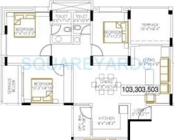 bu bhandari everglade apartment 3bhk 1273sqft 11030