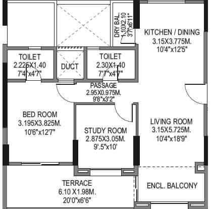 bu bhandari vaastu viva apartment 1bhk st 824sqft 1