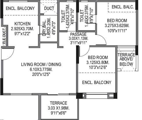 bu bhandari vaastu viva apartment 2bhk 871sqft 1