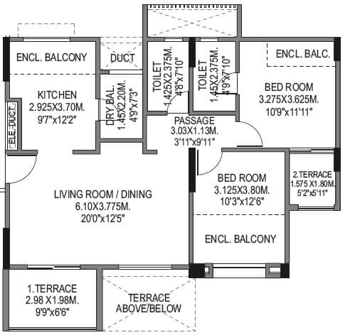 bu bhandari vaastu viva apartment 2bhk 907sqft 1