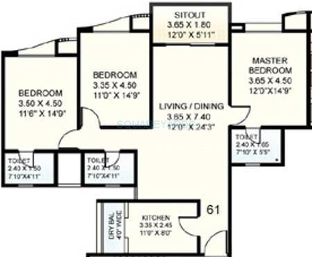clover acropolis apartment 3bhk 1500sqft 11840