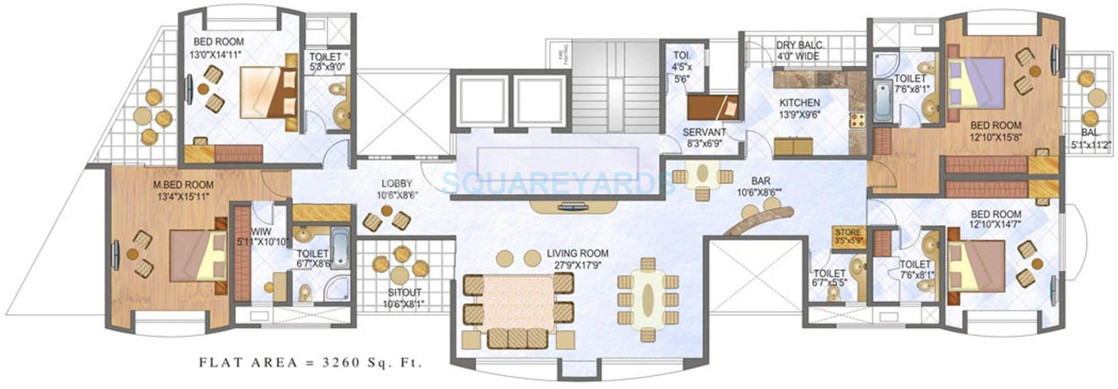 clover olympus apartment 4bhk 3260sqft 11756